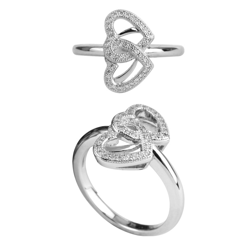 Double Heart Halo Ring