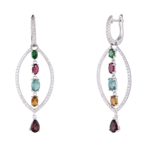 Colorful Tourmaline Gemstone Earring with White Zircon