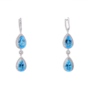 Swiss Blue Topaz Earring with White Zircon
