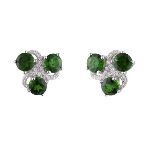 Female Luxury Chrome Diopside Earrings