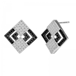 Black Square Wax Setting Earrings