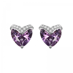Heart Shape Amethyst Earring