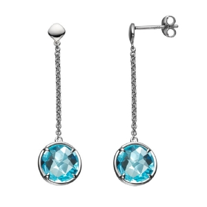 Long Chain Blue Topaz Earring For Girl