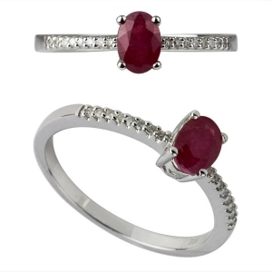 18K Gold Real Ruby Rings