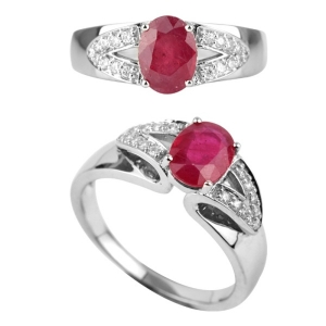 Double V  Ruby Ring