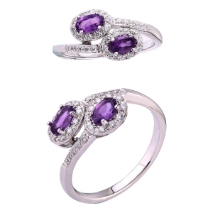 Double Oval Amethyst Ring