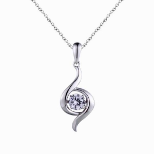 Silver Dancing Stone Pendant Necklace